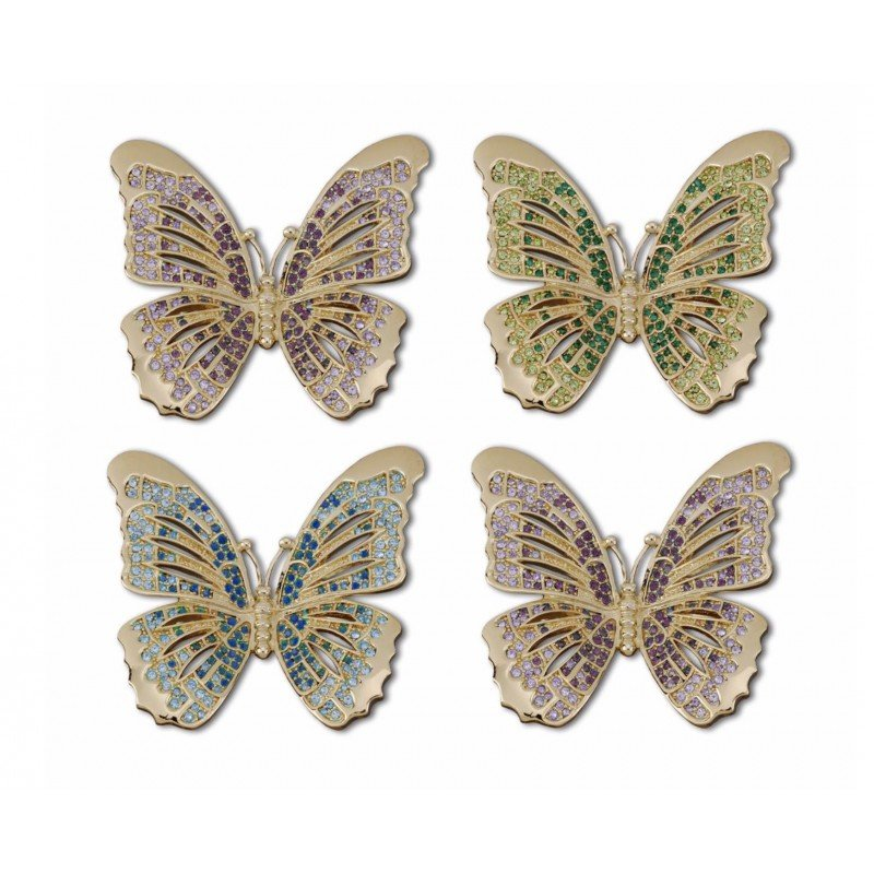 Butterfly with Multi Colors Crystals Gold Plated Rings - Set of 4