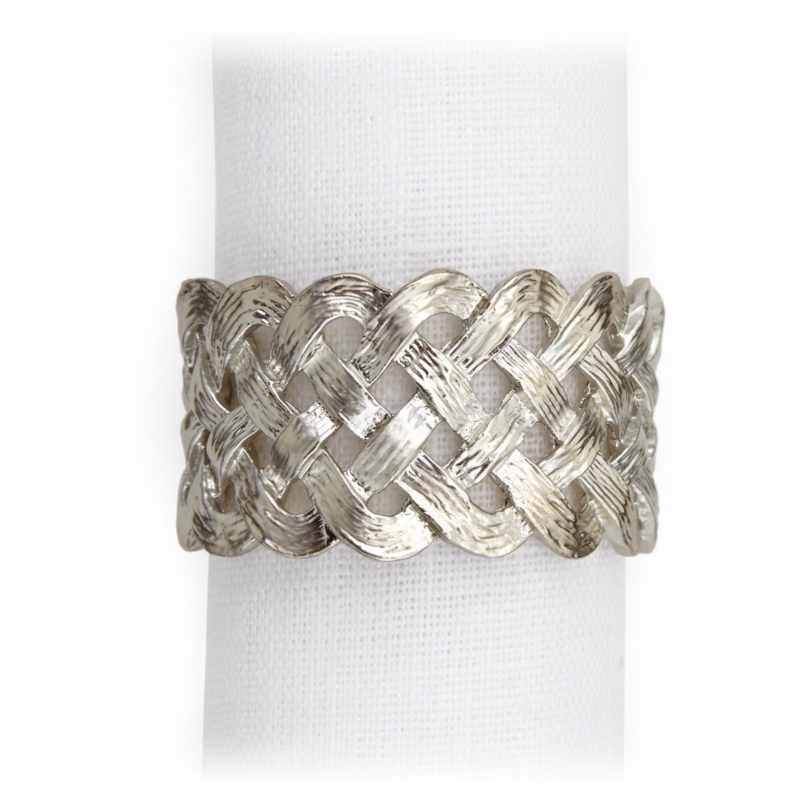 Braid Rings Platinum - Set of 4