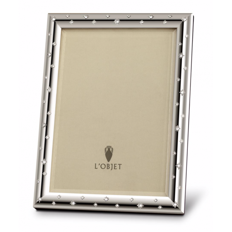 Star Plat Frame Platinum with White Crystals - 13 x 18