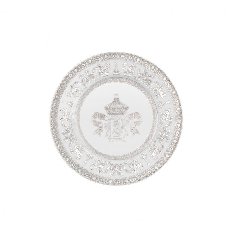 Couronne Impériale Bread Plate White and Platinum