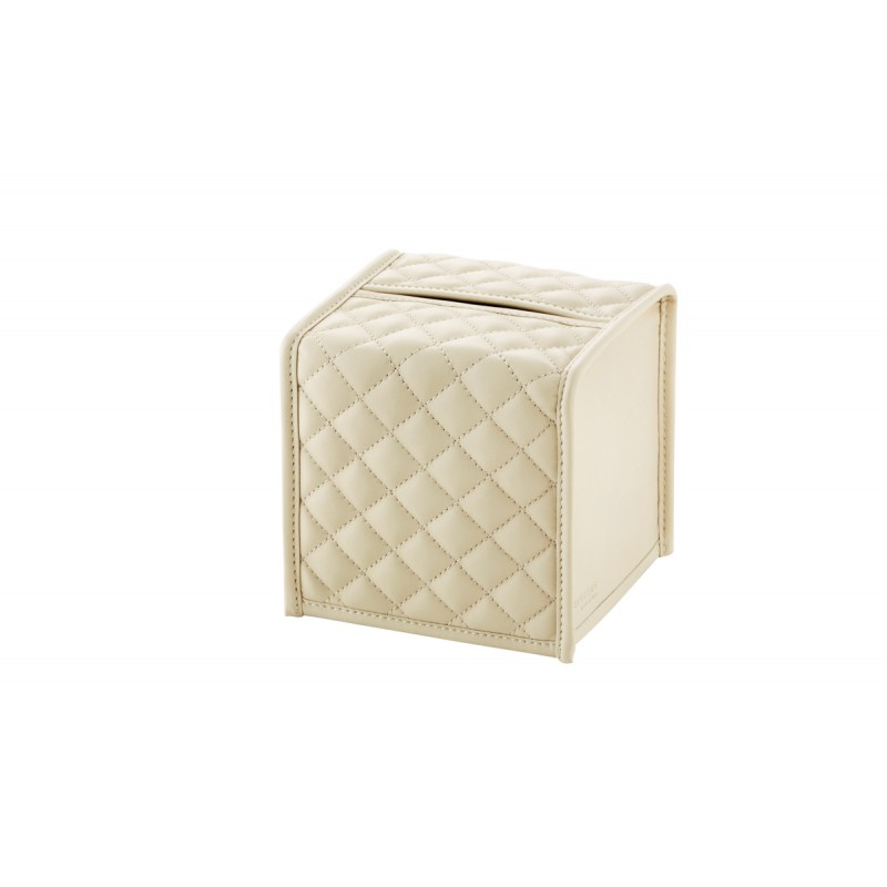 Tissue Box Ivory Cover Quilted Herringbone Padded Leather Square