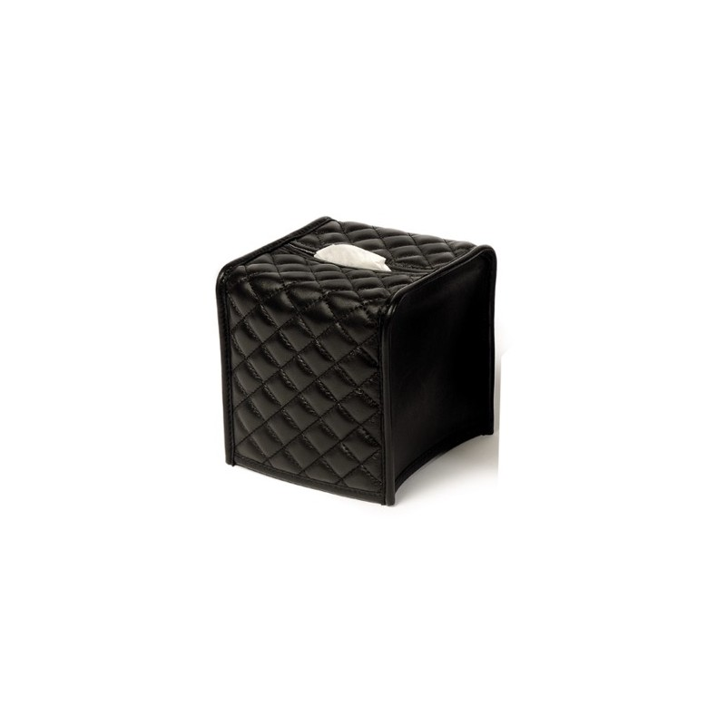 Tissue Box Cover Quilted Herringbone Padded Leather Square
