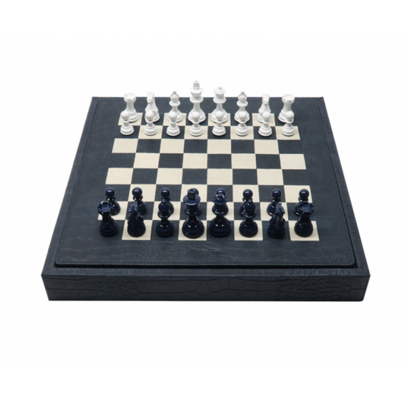 Beverly Chess Set Alligator Effect Leather Pétrole