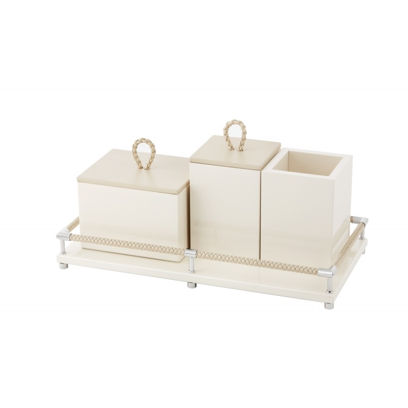 Set of 4 Bathroom Containers Ivory