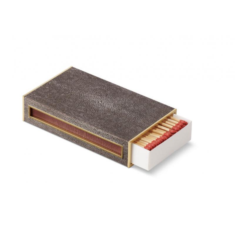 Shagreen Oversized Match Box, Chocolate