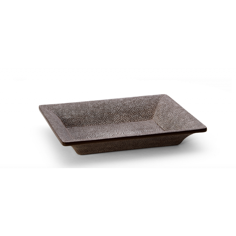 Shagreen Rectangular Vide Poche Chocolate