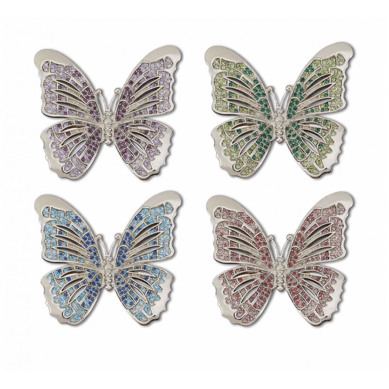 Butterfly with Multi Colors Crystals Platinum Plated Rings - Set of 4
