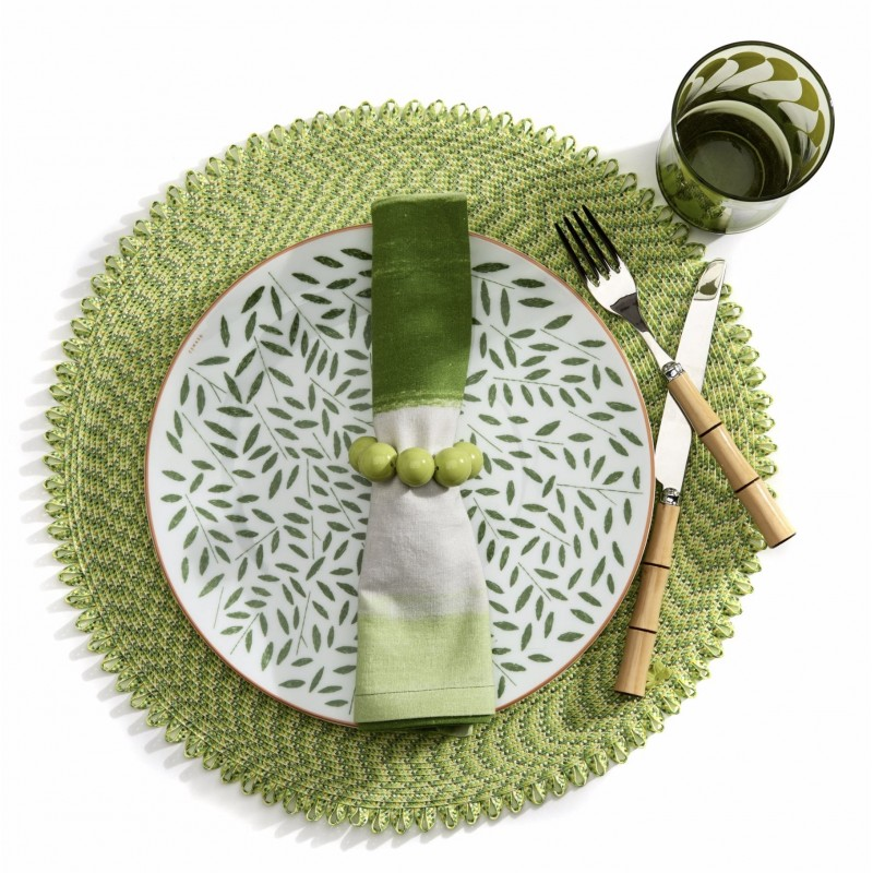 Ikat Round Placemat Emerald