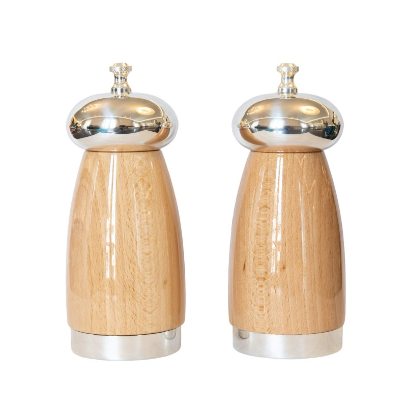 Set Salt and Pepper Mill Natural Cherry Wood and Silver-Plated Brass