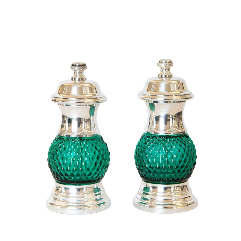 Set Salt and Pepper Mill Silver-Plated Brass and Glass Green