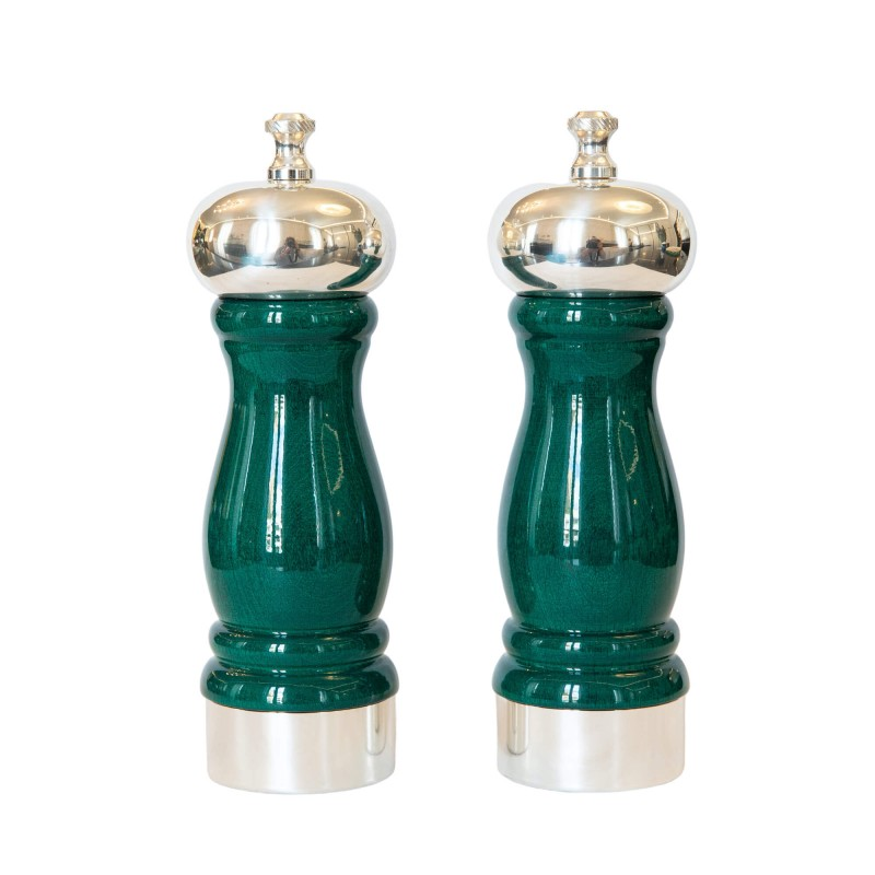 Set Salt and Pepper Mill Green and Silver-Plated Brass