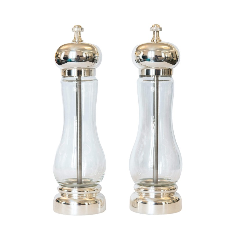Set Salt and Pepper Mill Silver-Plated Brass and Crystal