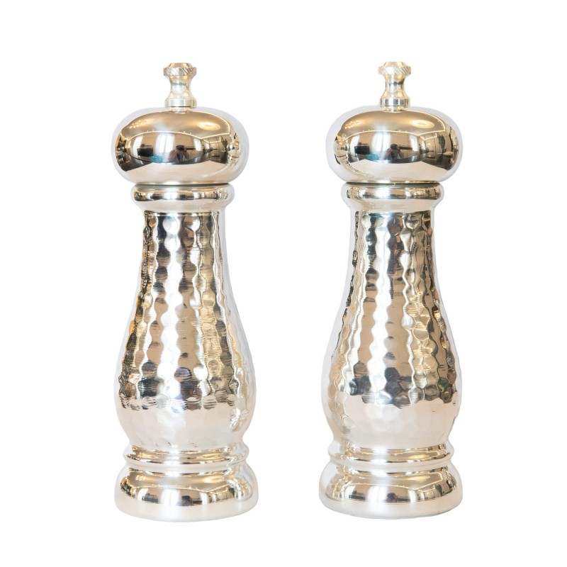 "Set Salt and Pepper Mill Silver-Plated Cooper ""Martele"""