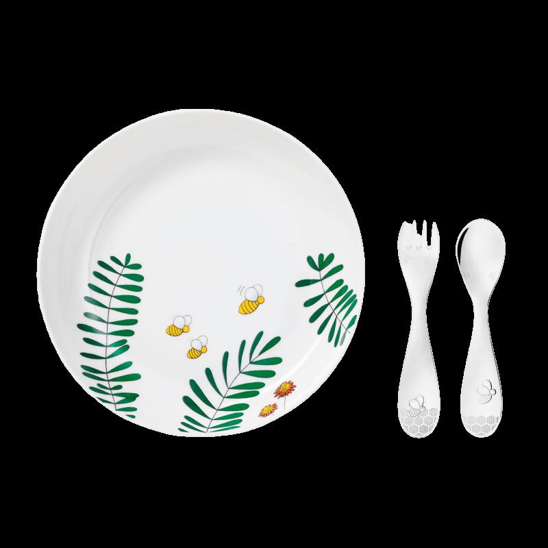 Beebee Coffret Assiette Creuse, Cuillère et Fourchette en Métal Argenté