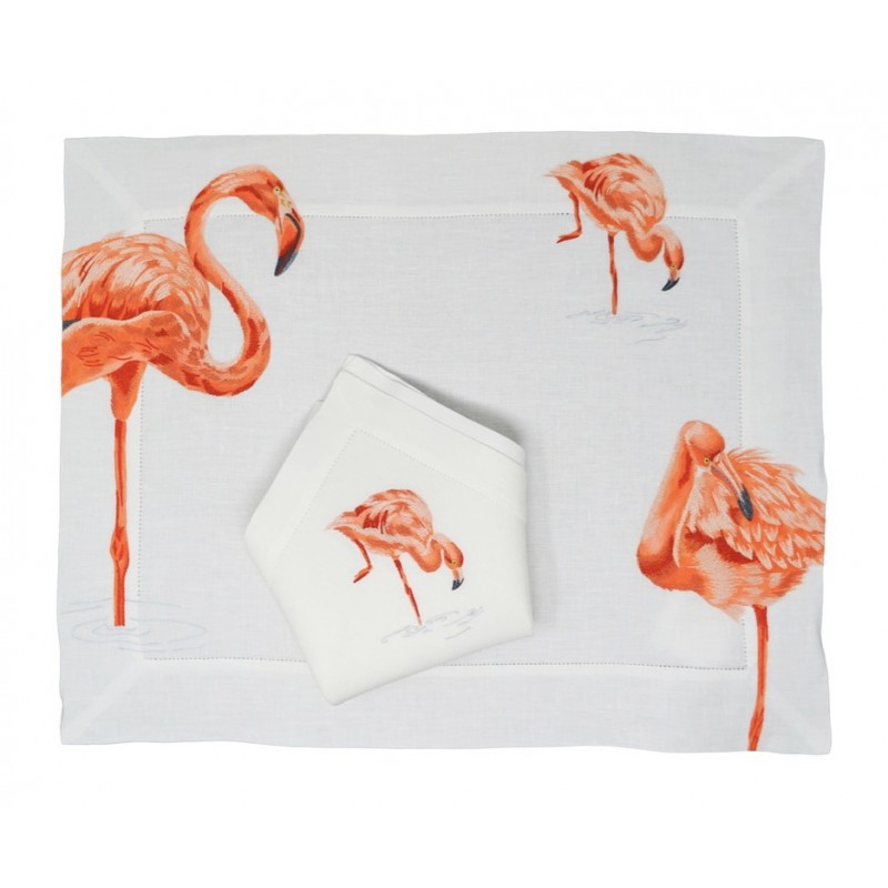 Placemat and Napkin Flamingo