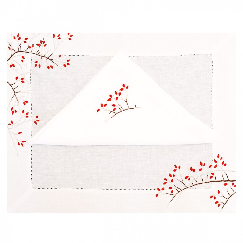 Placemat and Napkin Cherry Red