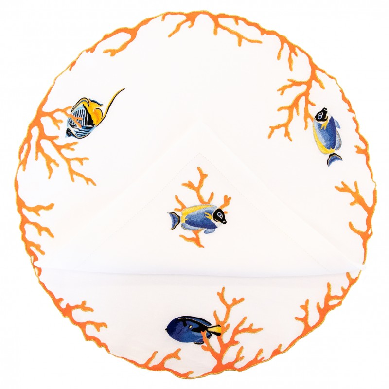 Placemat and Napkin Fish Round Coral