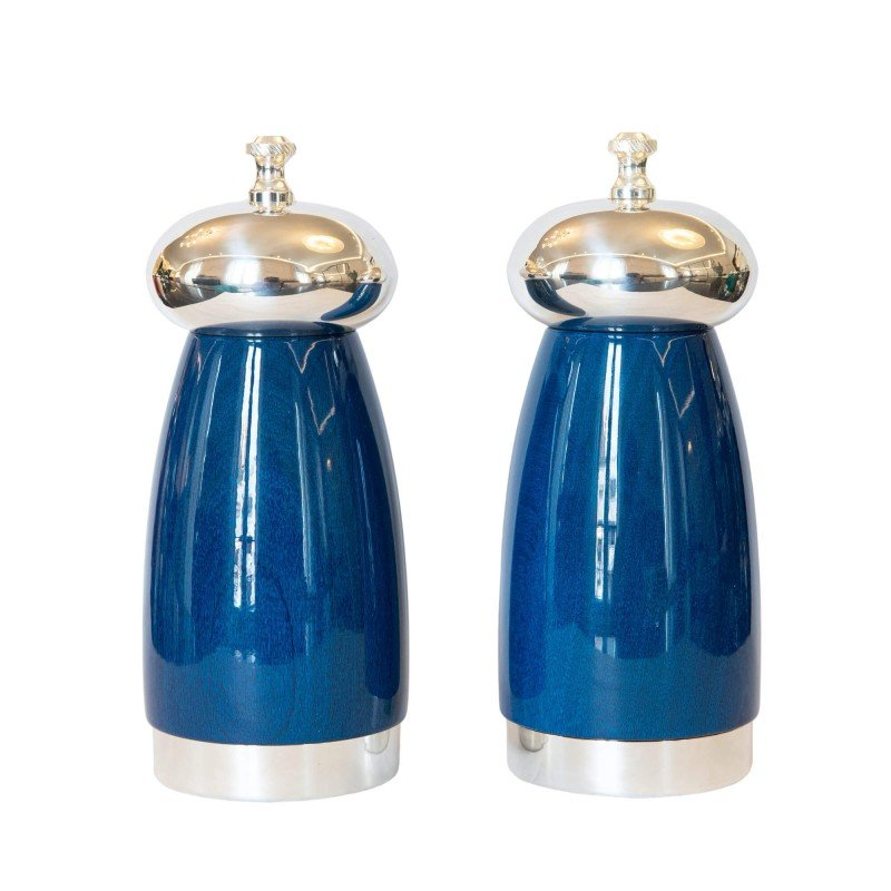 Salt and Pepper Mill Blue Wood and Silver-Plated Brass