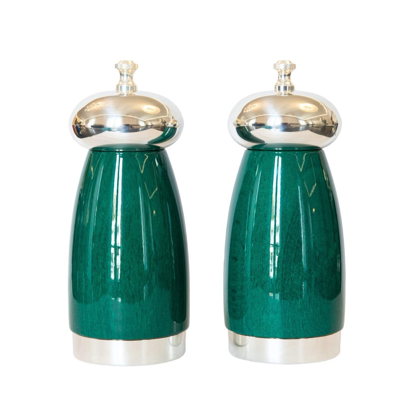 Salt and Pepper Mill Green Wood and Silver-Plated Brass