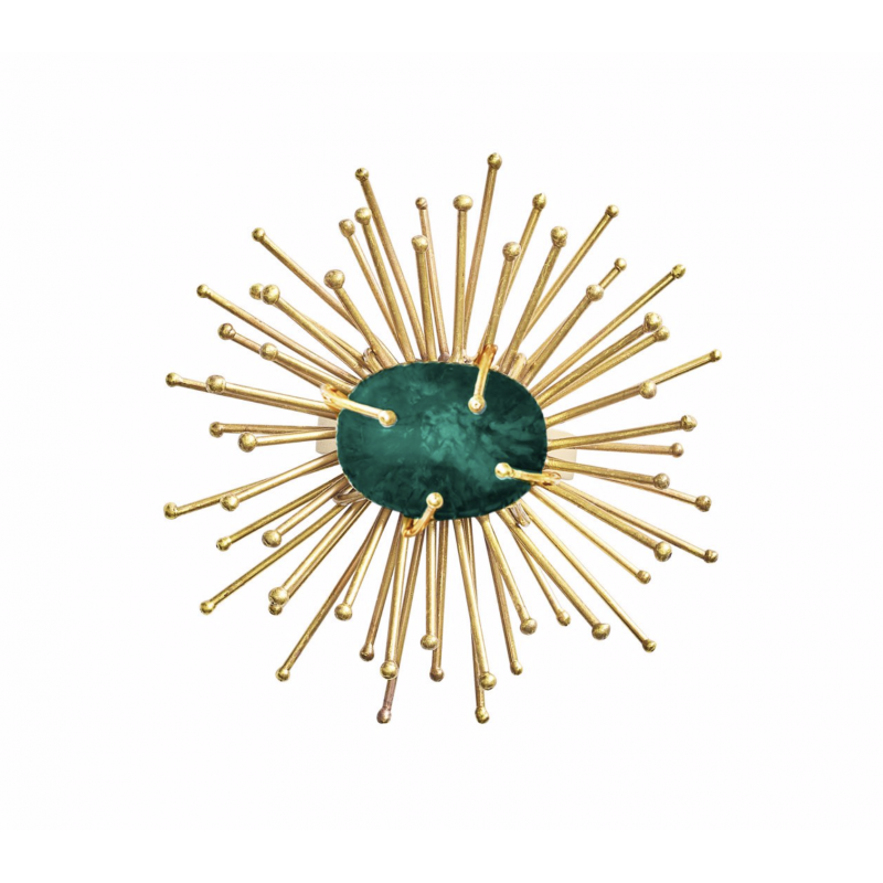 Flare Napkin Ring Gold and Emerald