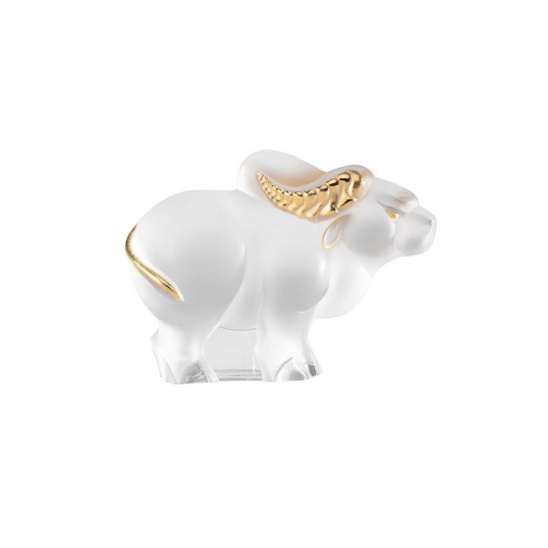 Sculpture Buffle Cristal Incolore Tamponné Or Petit Modèle