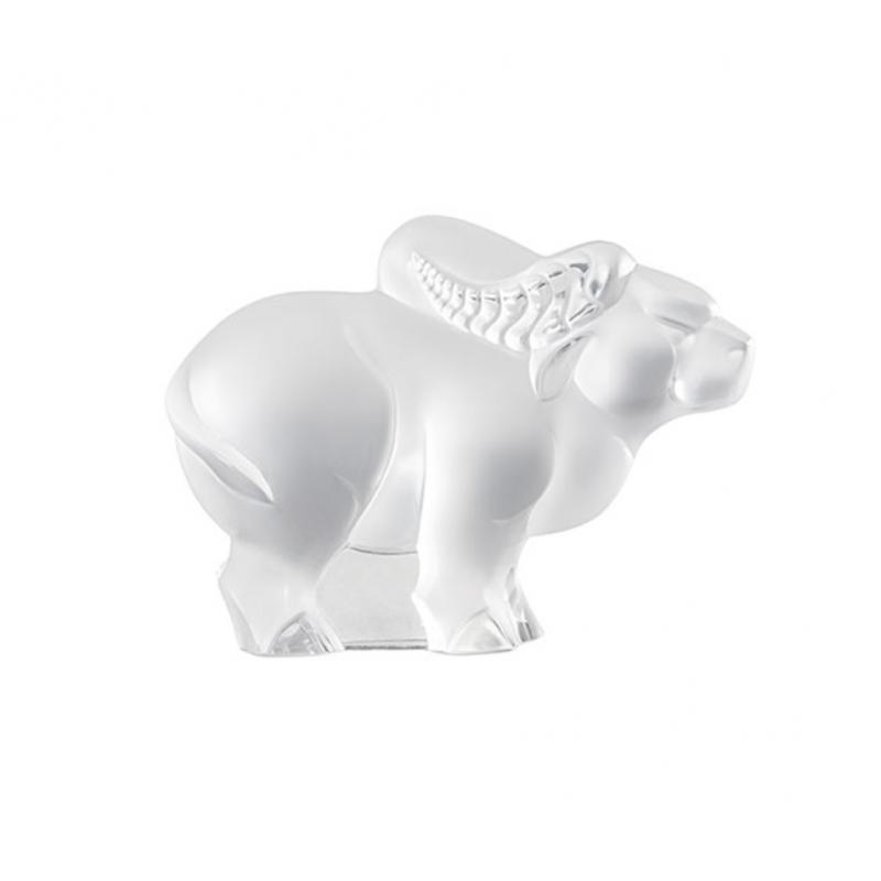Sculpture Buffle Cristal Incolore Petit Modèle