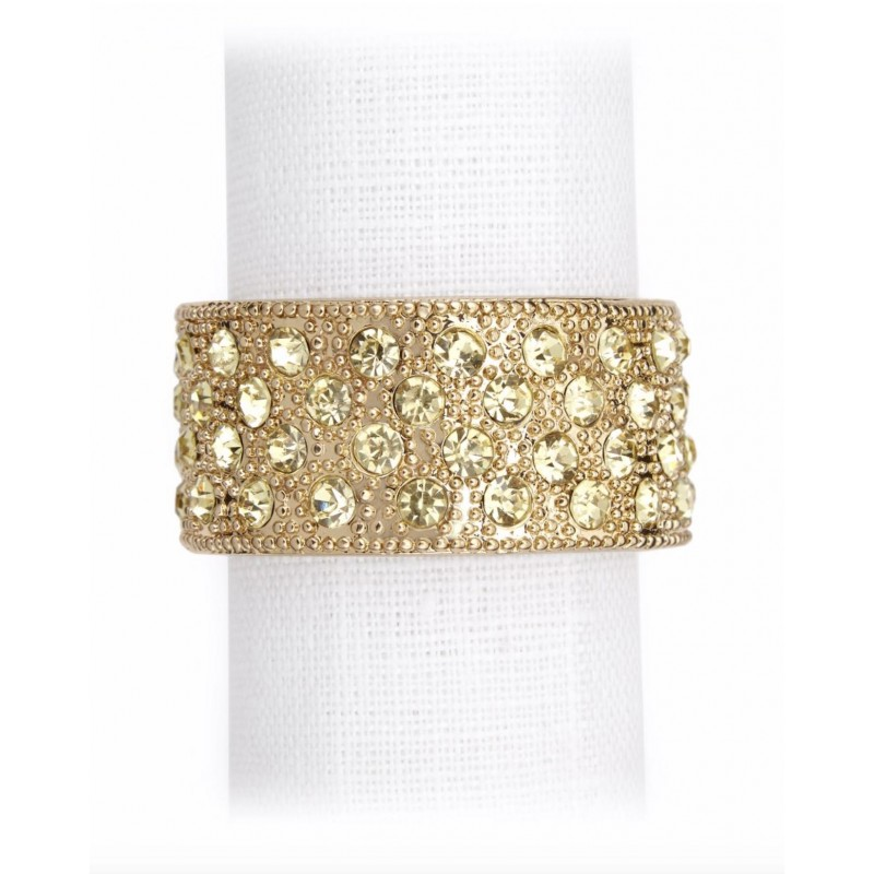 Pave Band Napkin Rings Jewels Gold with Yellow Crystals - Set of 4