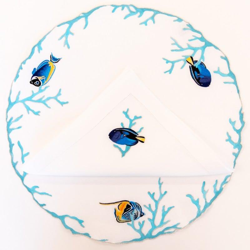 Set de Table et Serviette Rond Poissons Turquoise