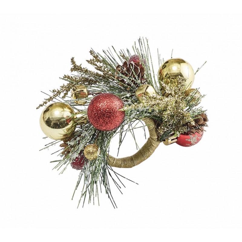 Rond de Serviette Boule de Noël Multicolore
