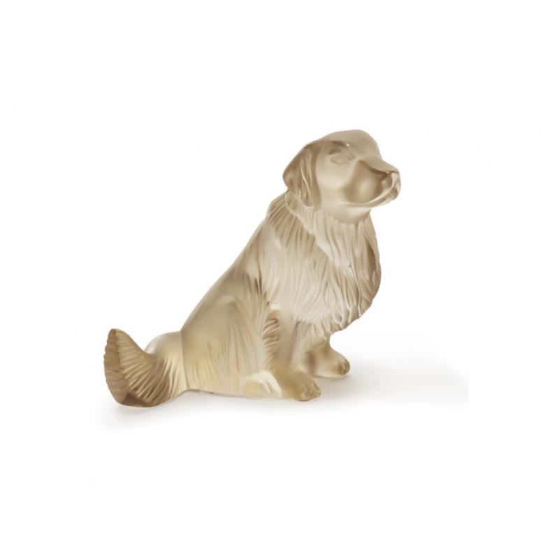 Golden Retriever Dog Sculpture Gold Luster Crystal