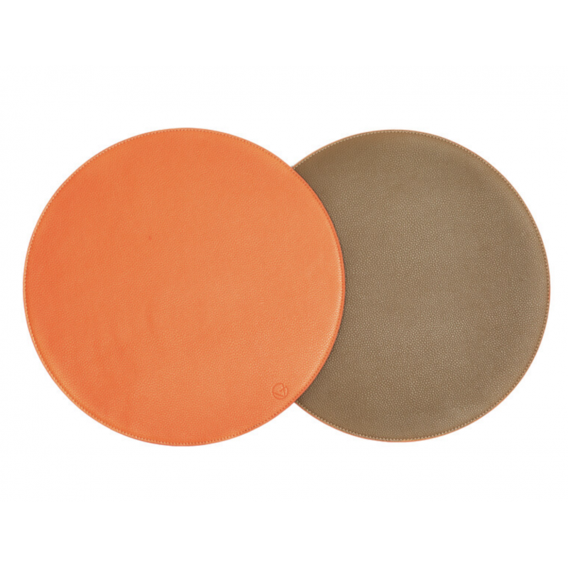 Reversible Reversible Round Placemat Taupe and Orange