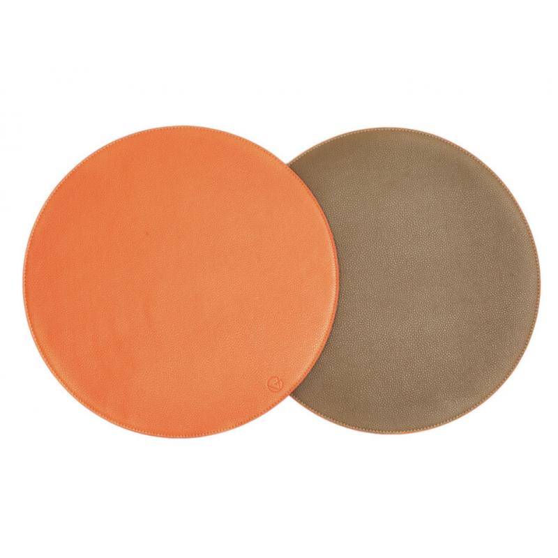 Set de Table Réversible en Faux Cuir Taupe / Orange