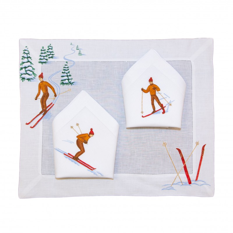 Placemat and Napkin Skier