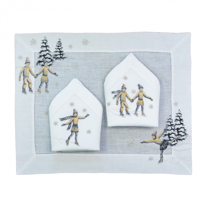 Placemat and Napkin Ice Skater