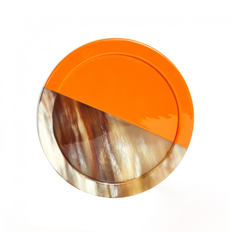 Horn and Lacquer Coaster Orange Horn