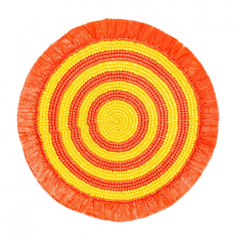 Plastic Twine Placemat Orange / Canary Yellow