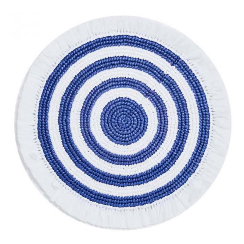 Plastic Twine Placemat White and Navy