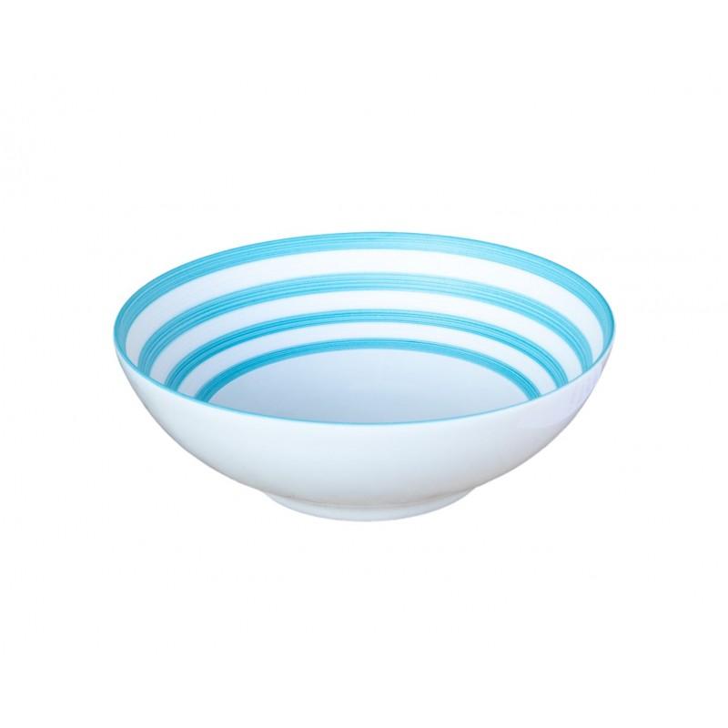 Hemisphère Sabrina Turquoise Small Salad Bowl Turquoise Stripes