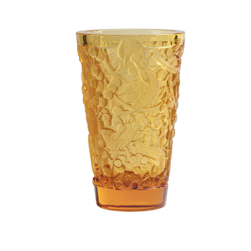 Merles et Raisins Vase Medium Size Amber