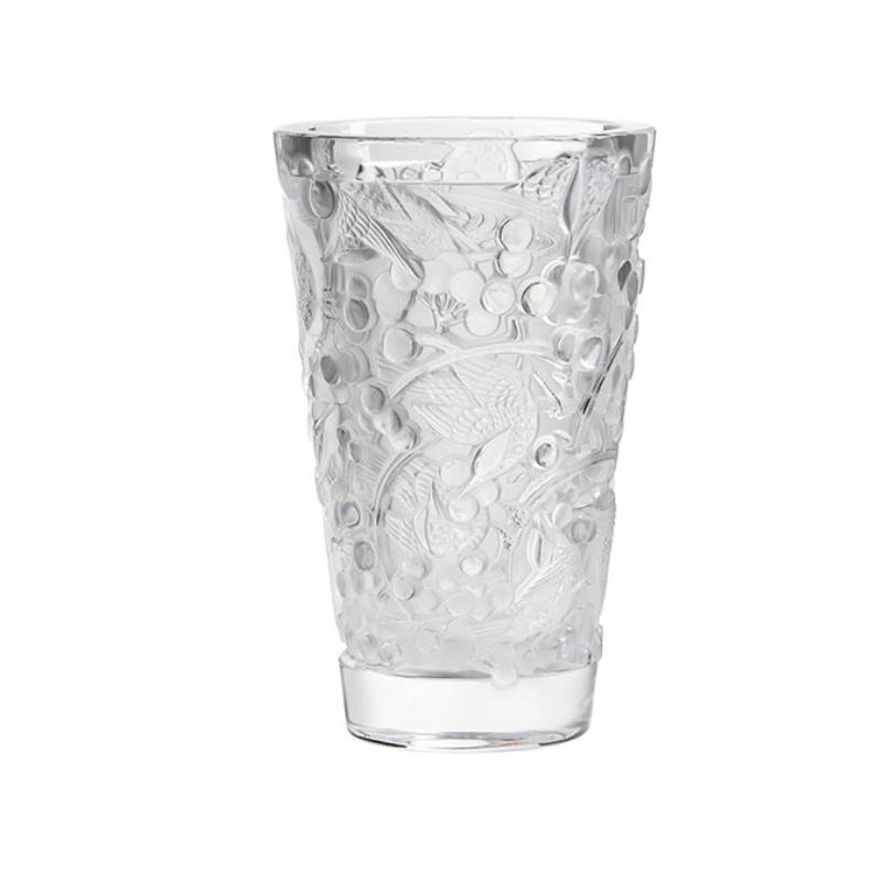 Merles et Raisins Vase Medium Size Clear