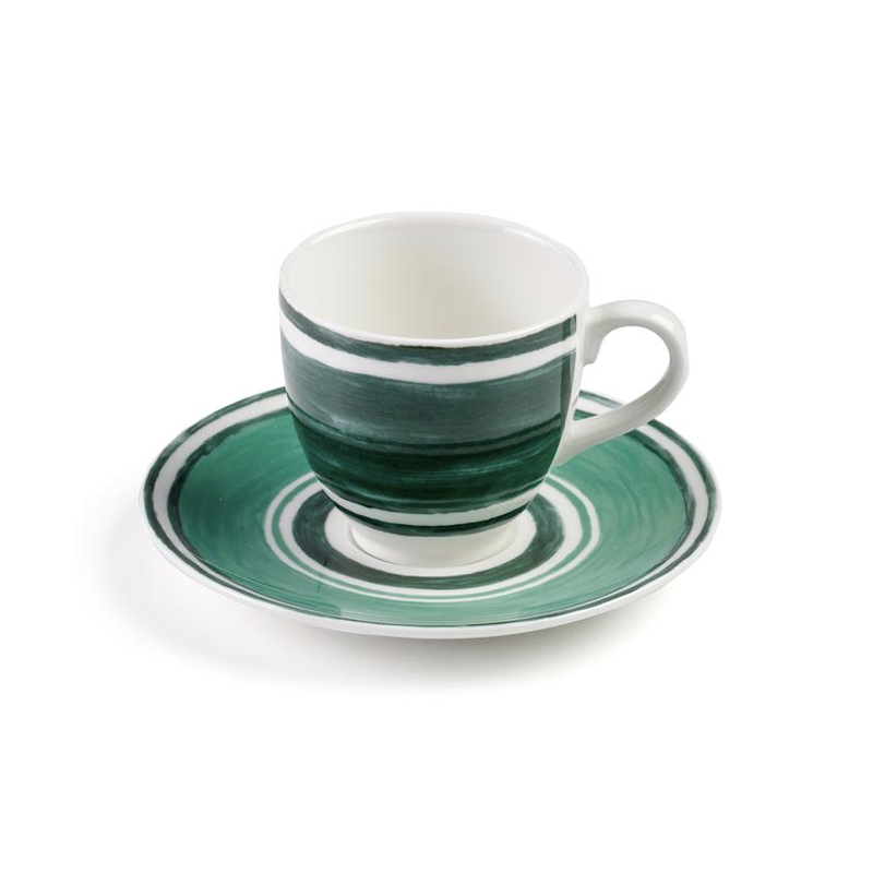 Maze Coffee or Tea Cup with Saucer Green