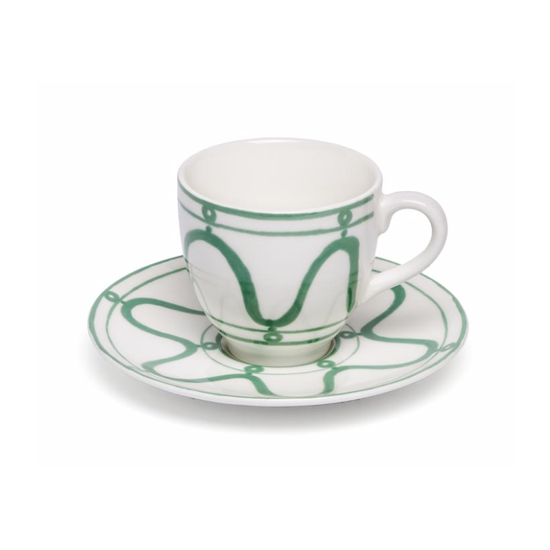 Serenity Coffee or Tea Cup with Saucer Green