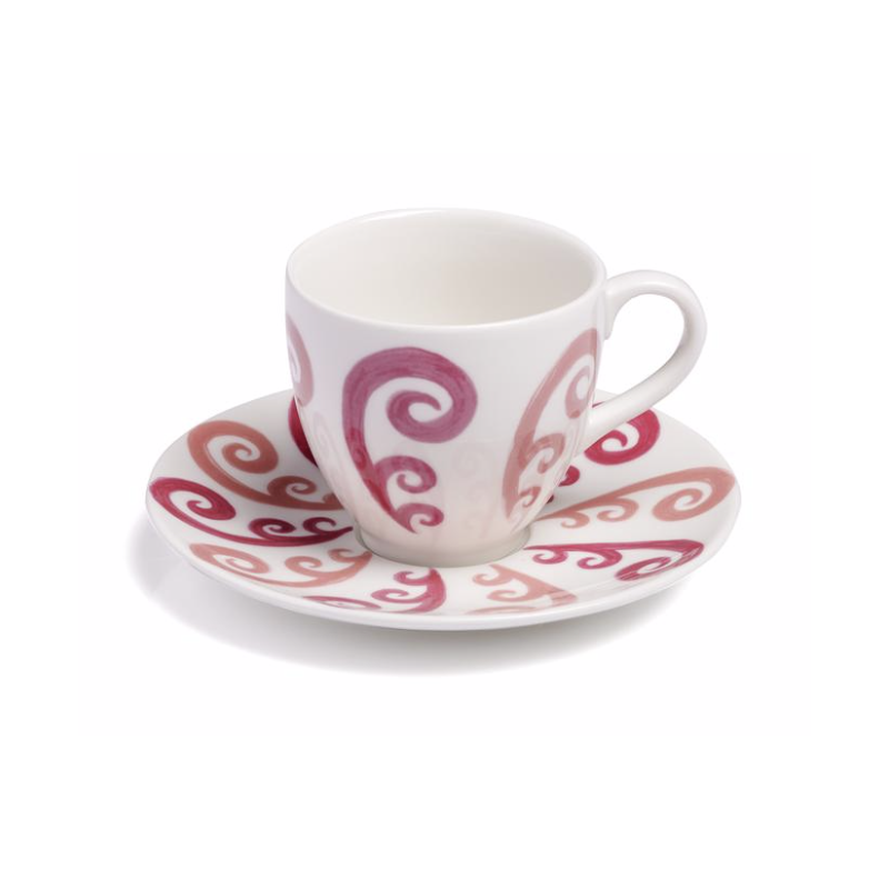 Athenee Peacock Coffee or Tea Cup with Saucer Pink