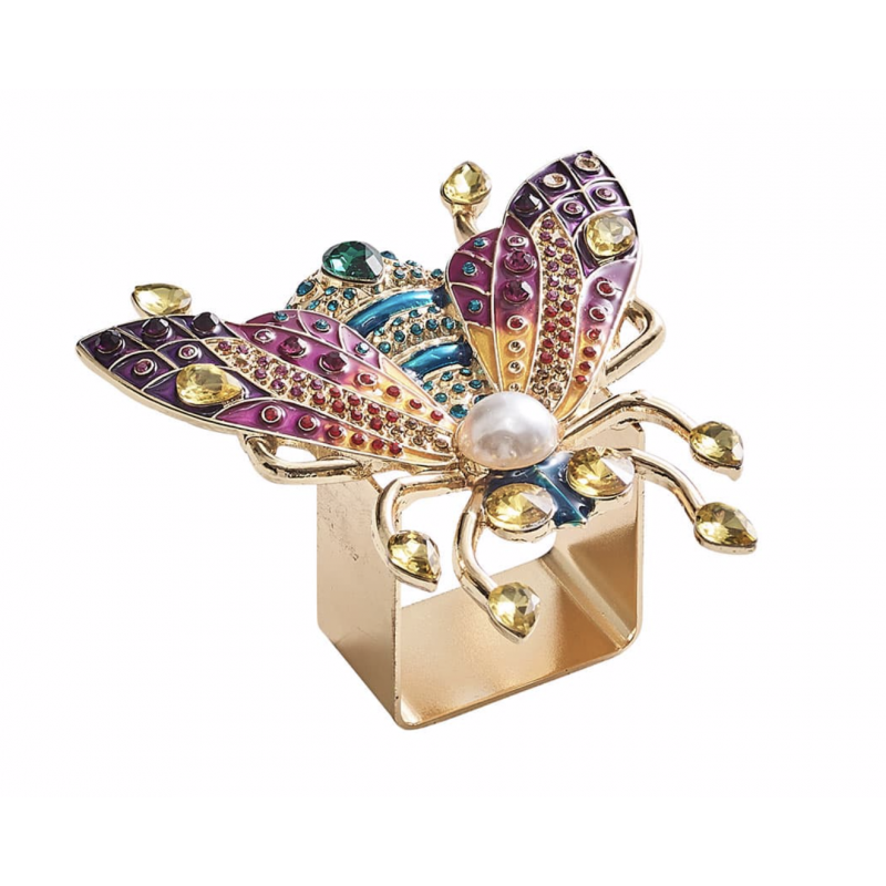 Glam Fly Napkin Ring Multicolors - Set of 4