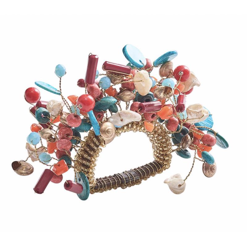 Cozumel Napkin Ring Coral/Turquoise