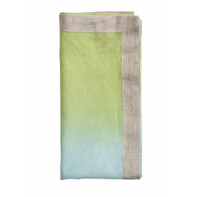 Serviette de Table Dip Dye Vert/Bleu