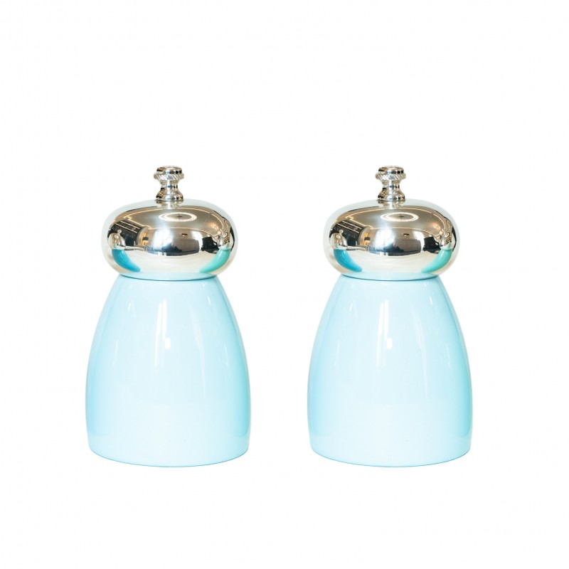 Set Salt and Pepper Mill Sky Blue Wood and Silver-Plated Brass