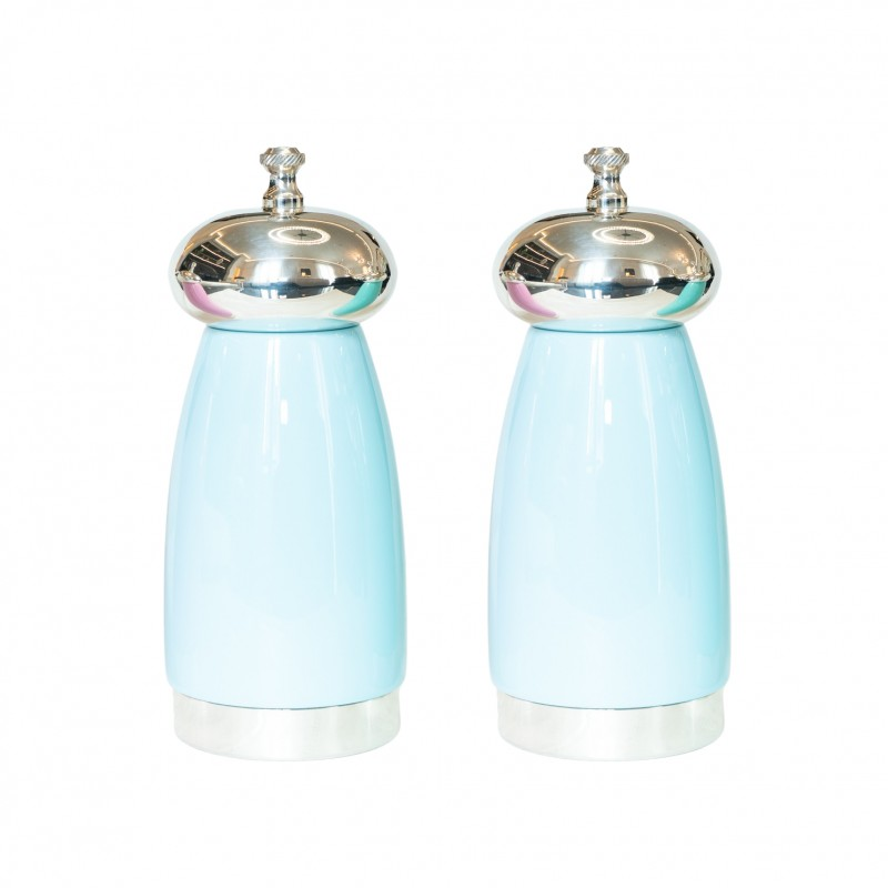 Salt and Pepper Mill Sky Blue Wood and Silver-Plated Brass