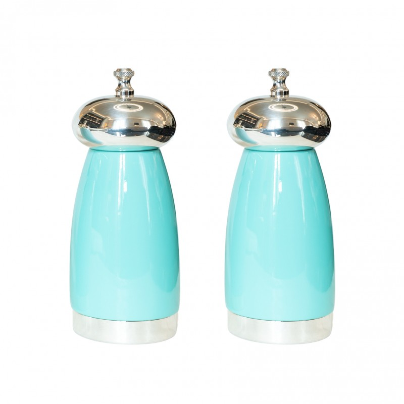 Salt and Pepper Mill Aqua Blue Wood and Silver-Plated Brass