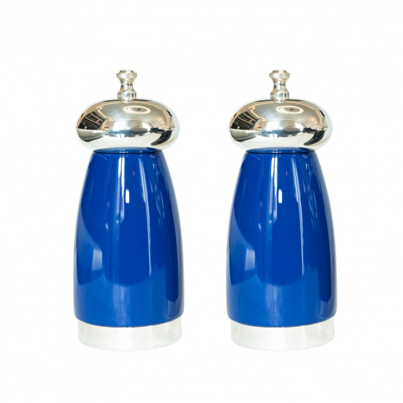 Salt and Pepper Mill Hermes Blue Wood and Silver-Plated Brass